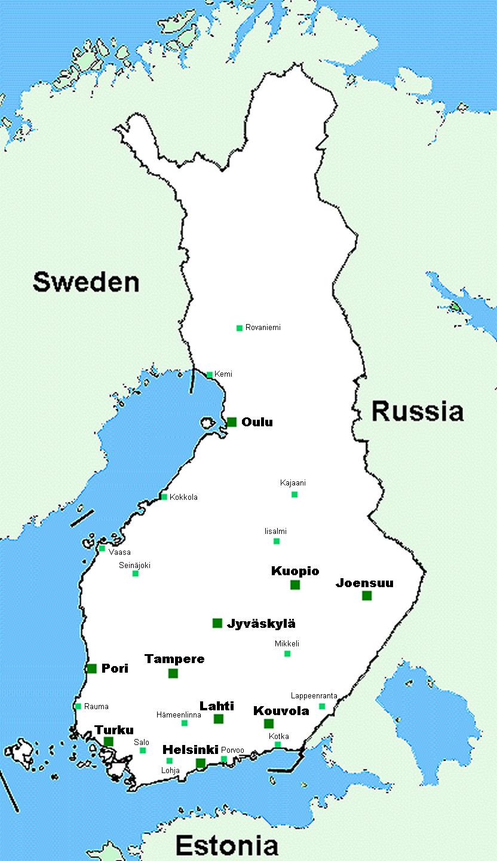 Карта на Финландия