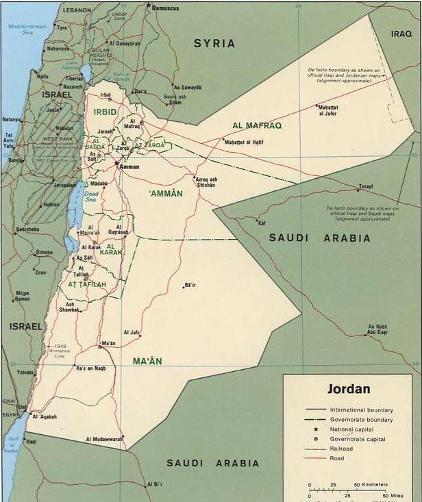 Карта на Йордания