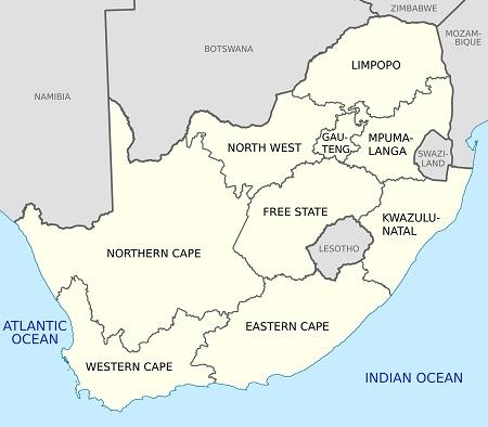 Карта на Южна Африка