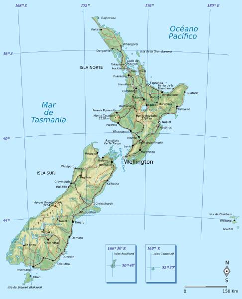 Карта на Нова Зеландия