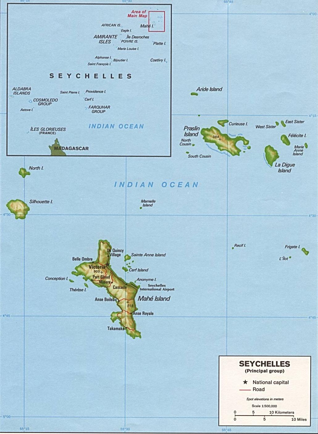 Карта на Сейшелски острови